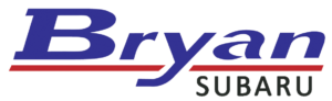 "Logo for Bryan Subaru: Says ""Bryan:"" in blue, italicized sans serif blocky text, with a red line underneath, and Subaru in plain black all caps sans serif text."